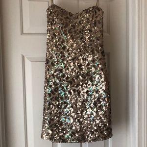 ArdenB Gold Strapless Sequin Dress